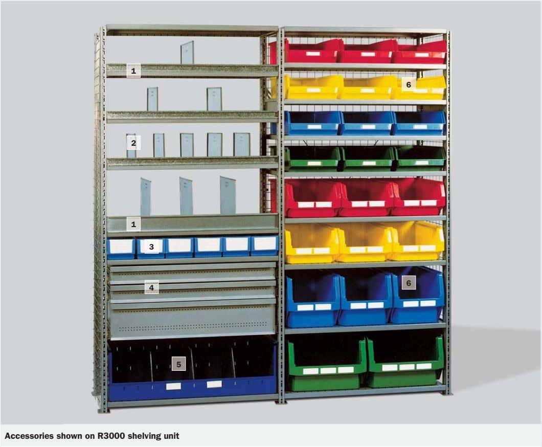 1 6 2 1 3 6 4 5 Accessories shown on R3000 shelving unit