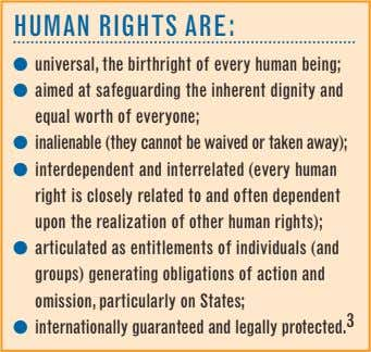 Human rigHts are: ● universal, the birthright of every human being; ● aimed at safeguarding
