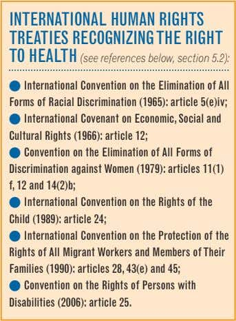 internatiOnal Human rigHts treaties reCOgnizing tHe rigHt tO HealtH (see references below, section 5.2): l