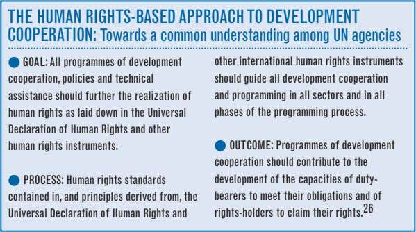 tHe Human rigHts-BaseD aPPrOaCH tO DeVelOPment COOPeratiOn: towards a common understanding among un agencies l