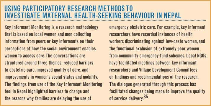 uSING PARTICIPATORy ReSeARCh MeThODS TO INVeSTIGATe MATeRNAL heALTh-SeeKING BehAVIOuR IN NePAL Key Informant Monitoring
