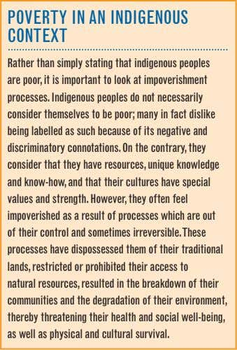 POVeRTy IN AN INDIGeNOuS CONTexT Rather than simply stating that indigenous peoples are poor, it