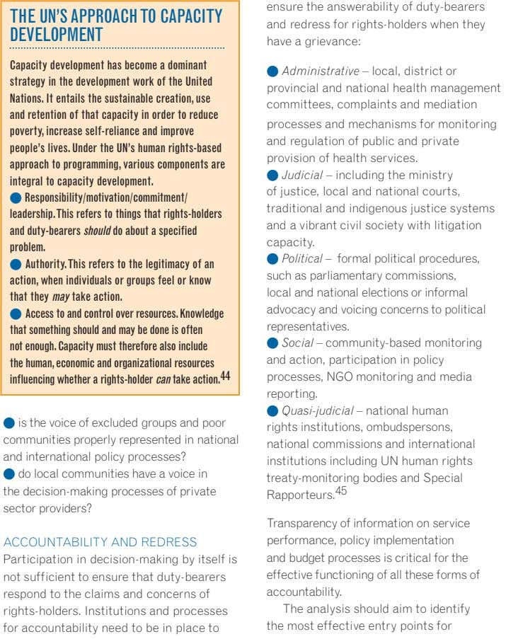 The uN'S APPROACh TO CAPACITy DeVeLOPMeNT ensure the answerability of duty-bearers and redress for rights-holders