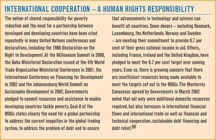 INTeRNATIONAL COOPeRATION – A huMAN RIGhTS ReSPONSIBILITy The notion of shared responsibility for poverty reduction
