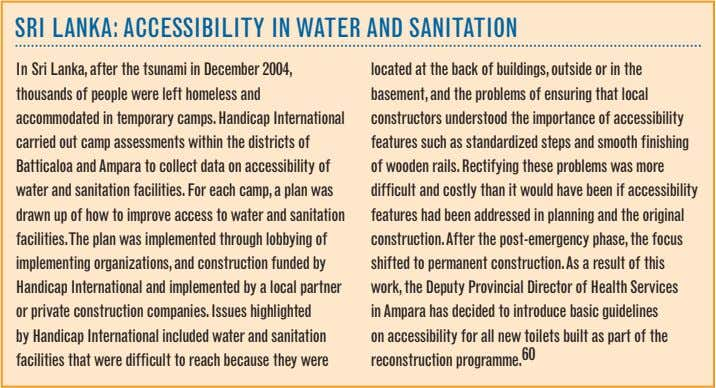 SRI LANKA: ACCESSIBILITy IN WATER AND SANITATION In Sri Lanka, after the tsunami in December