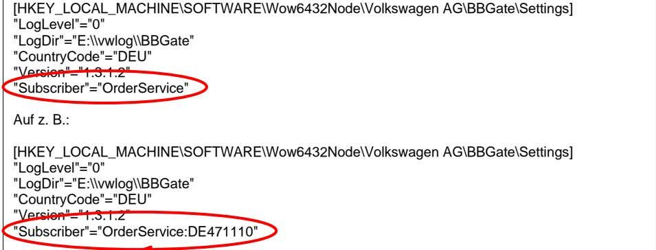 "[HKEY_LOCAL_MACHINE\SOFTWARE\Wow6432Node\Volkswagen AG\BBGate\Settings] ""LogLevel""=""0"""
