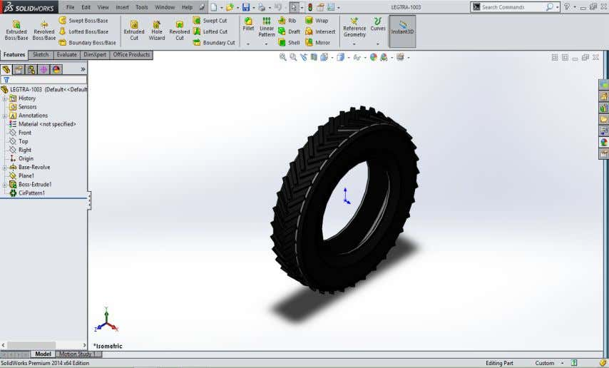 Rear tire of small tractor in SolidWorks 2014 Front wheel of small tractor in SolidWorks
