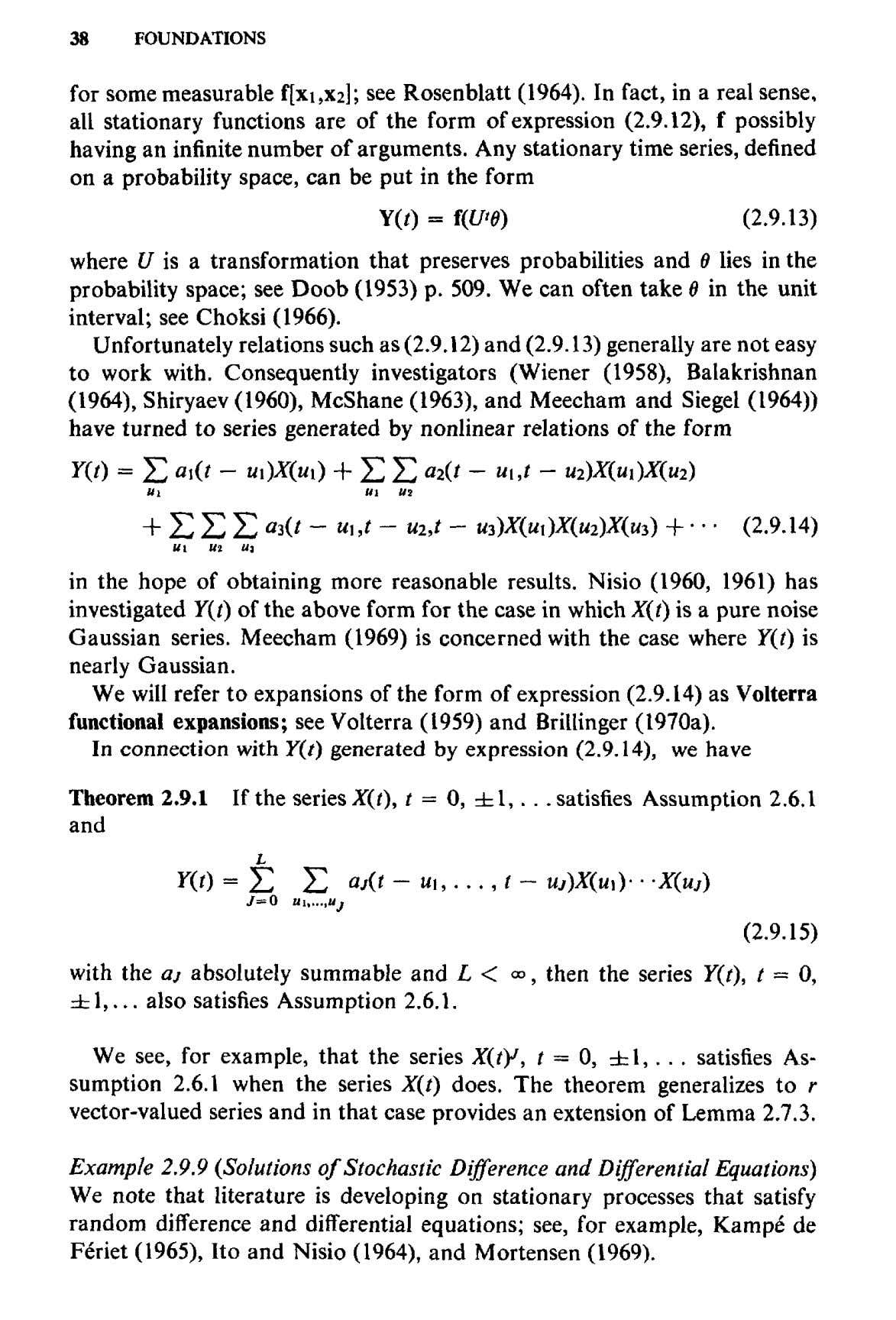 38 FOUNDATIONS for some measurable f[xi,X2]; see Rosenblatt (1964). In fact, in a real sense,