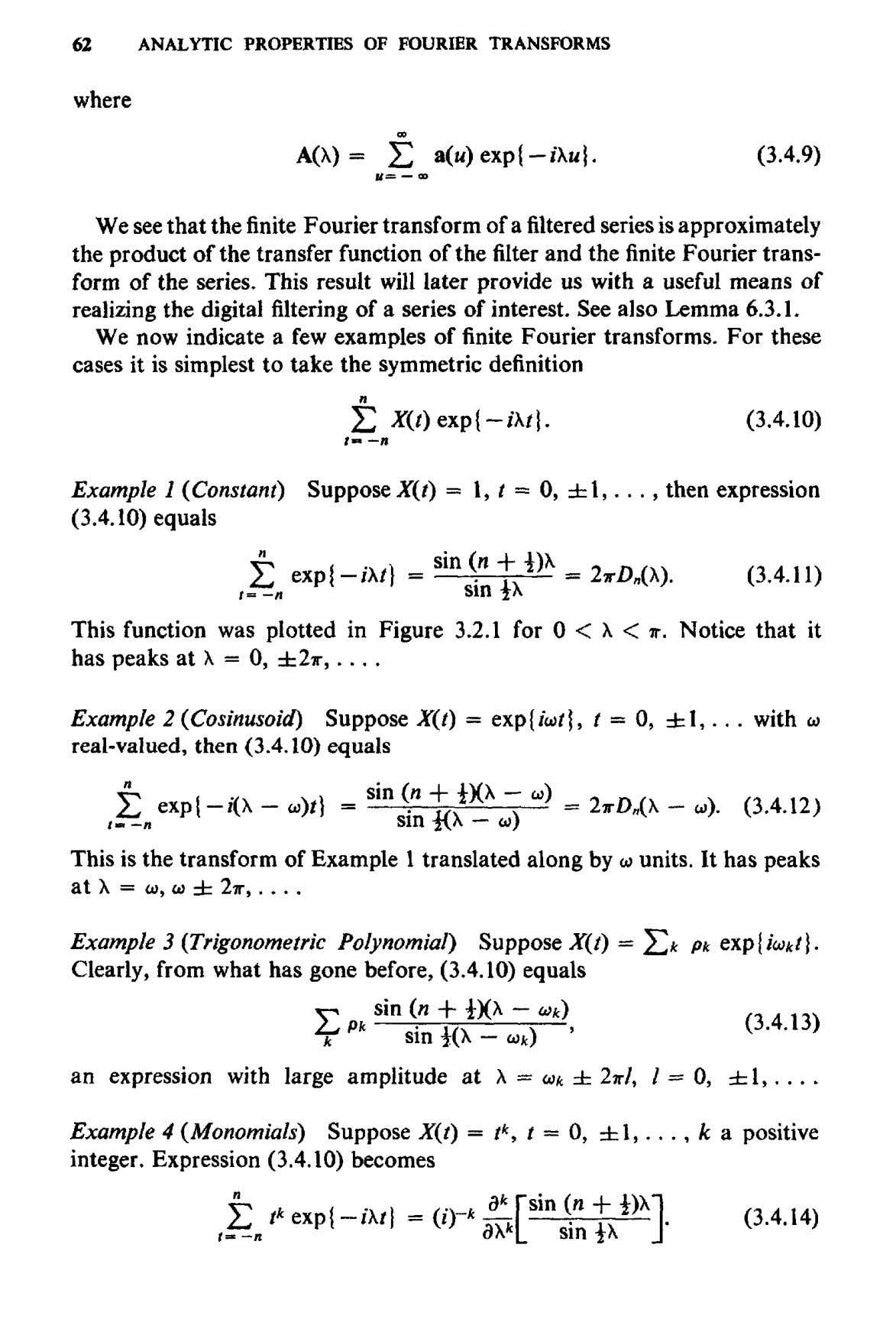 62 ANALYTIC PROPERTIES OF FOURIER TRANSFORMS where We see that the finite Fourier transform of