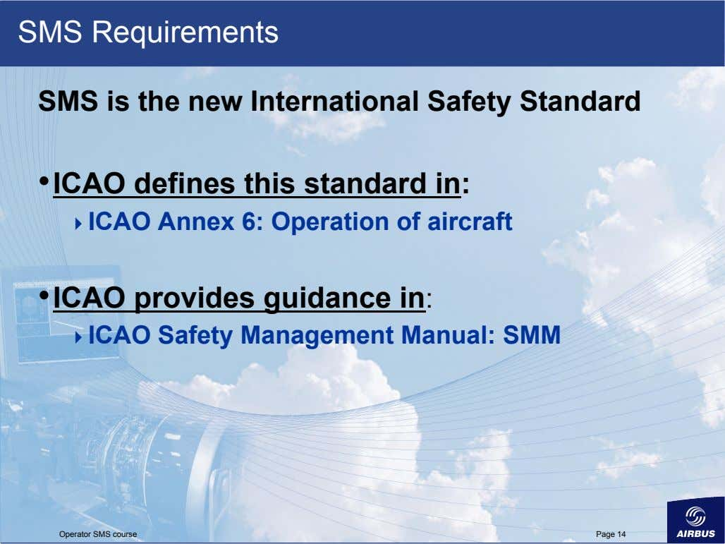 SMS Requirements SMS is the new International Safety Standard •  ICAO defines this standard in:
