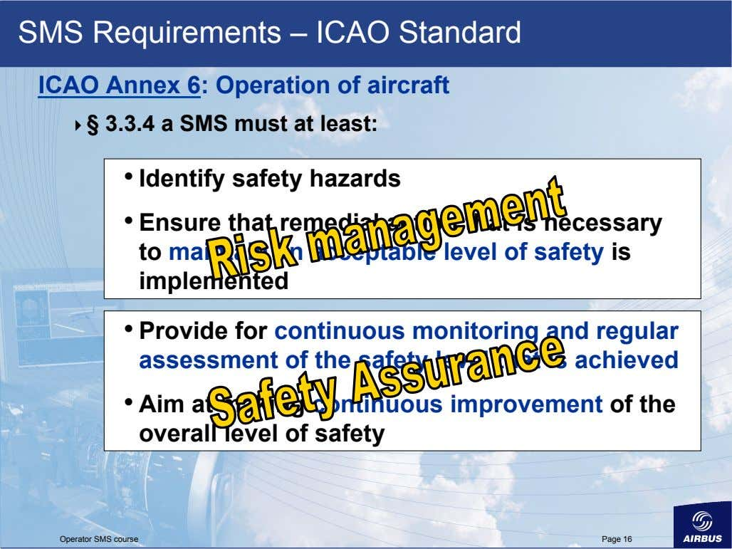 SMS Requirements – ICAO Standard ICAO Annex 6: Operation of aircraft   § 3.3.4 a