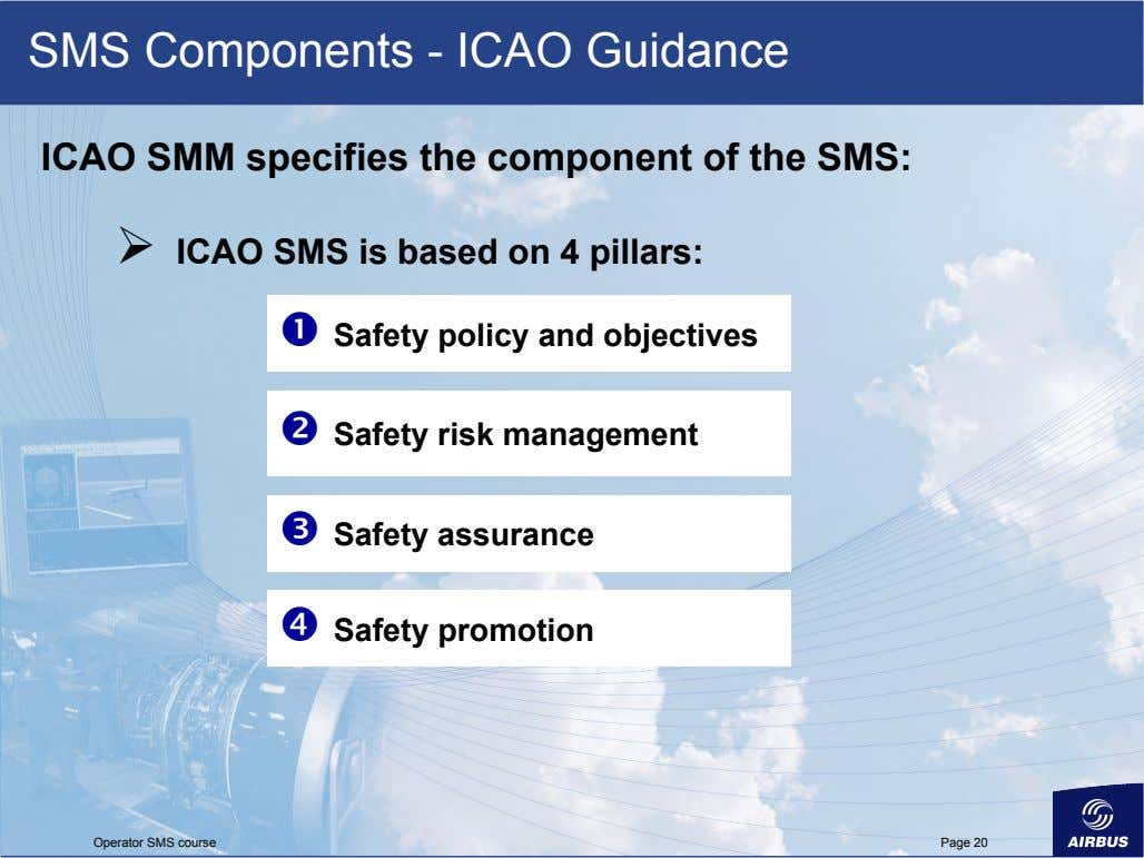 SMS Components - ICAO Guidance ICAO SMM specifies the component of the SMS: 