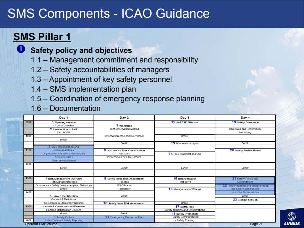 SMS Components - ICAO Guidance SMS Pillar 1   Safety policy and objectives 1.1 –