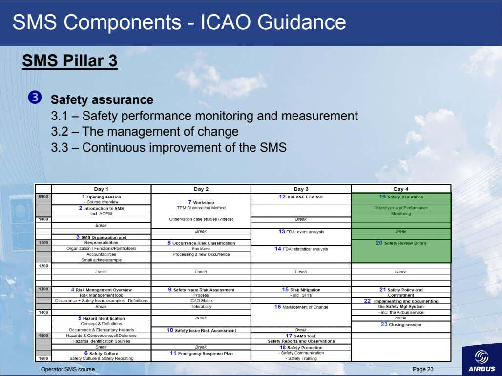 SMS Components - ICAO Guidance SMS Pillar 3   Safety assurance 3.1 – Safety performance