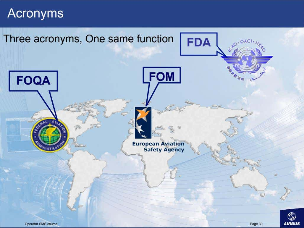 Acronyms Three acronyms, One same function FDA FOM FOQA European Aviation Safety Agency Operator SMS