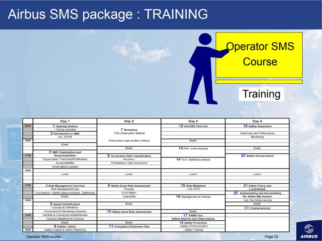 Airbus SMS package : TRAINING Operator SMS Course Training Operator SMS course Page 33