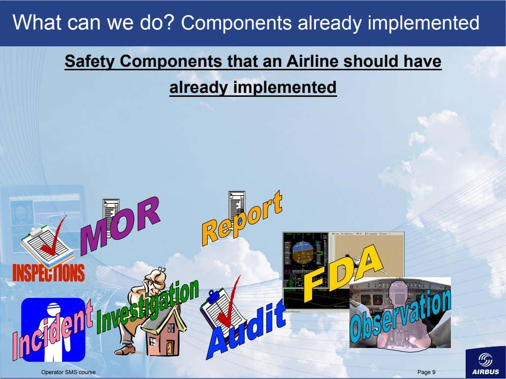 What can we do? Components already implemented Safety Components that an Airline should have already
