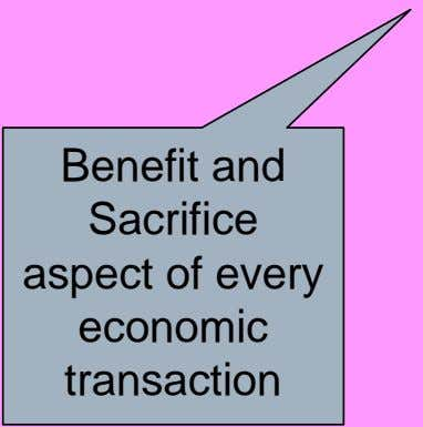 Benefit and Sacrifice aspect of every economic transaction