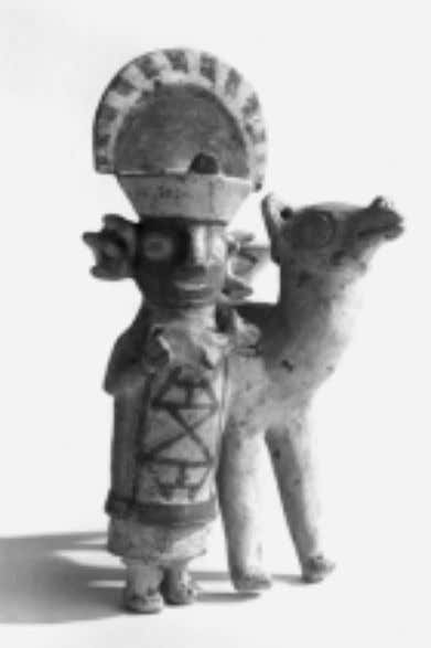 Joan M. Gero Fig. 18 Recuay llama man holding a young llama and wearing a double
