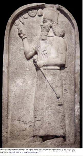 Stone stele of Assyrian king Ashurnasirpal II from Nimrud (ancient Kalhu), northern Iraq, approx. 883-859 BC