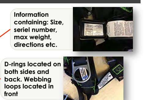 Information containing: Size, seriel number, max weight, directions etc. D-rings located on both sides and