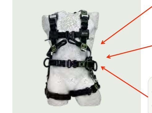 located on both sides and back. Webbing loops located in front 8 A-marking must be positioned