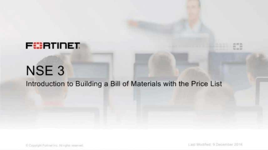 nse-3-introduction-to- the-price-list-and-bill-of- materials: Price List and Bill of Materials Lesson
