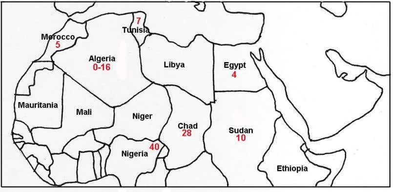 R1b is situated in Nort-western Nigeria and Chad; cf. Map 3. Figure 3. Frequencies of haplogroup