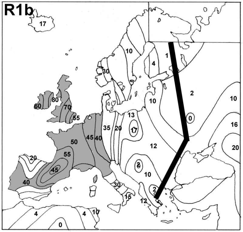 8 Figure 2. Frequencies of R1b in Europe. The black bar represents the frequency valley between