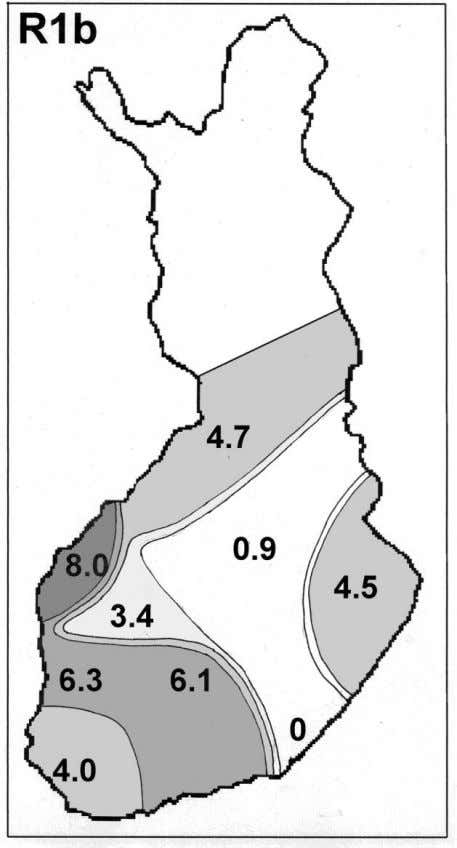 10 Figure 5. Frequency of R1b in Finland. Based on the material in Lappalainen et al.