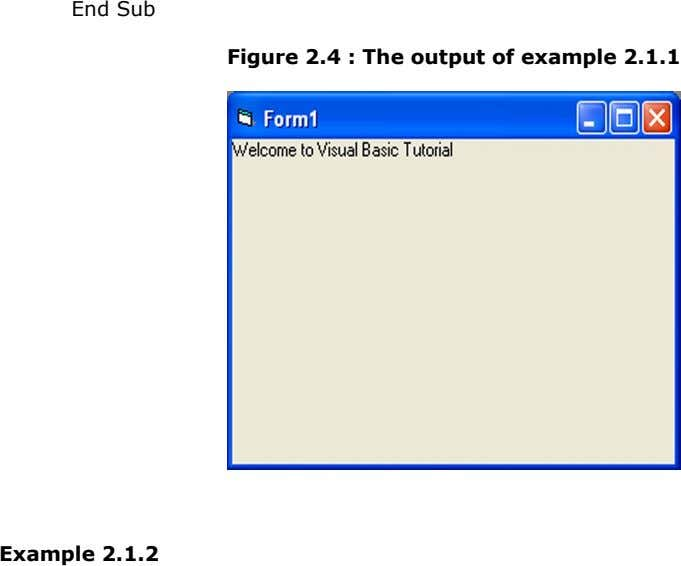 End Sub Figure 2.4 : The output of example 2.1.1 Example 2.1.2