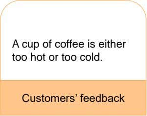 A cup of coffee is either too hot or too cold. Customers' feedback