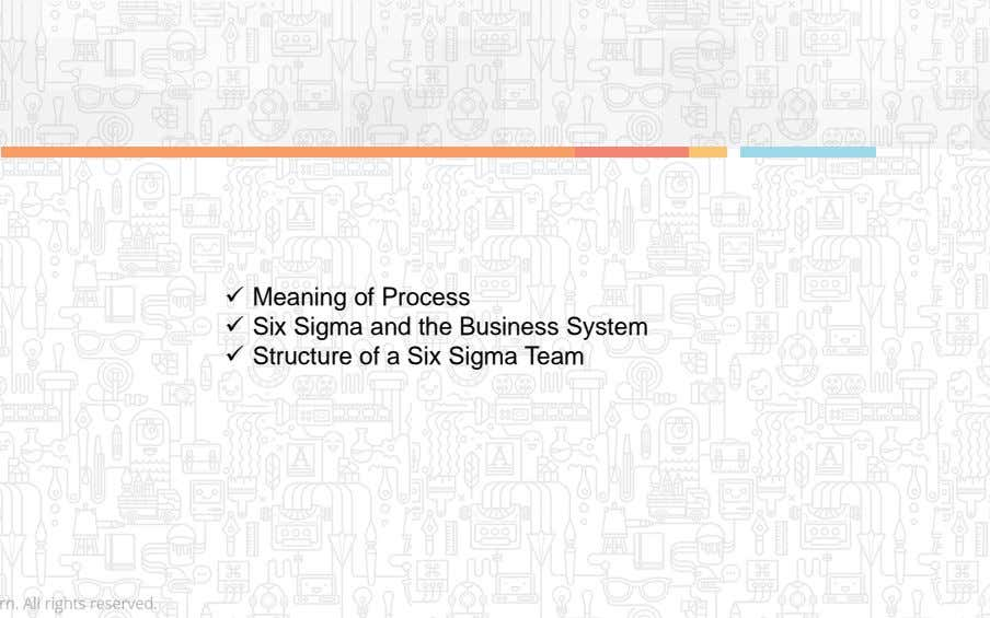  Meaning of Process  Six Sigma and the Business System  Structure of a Six