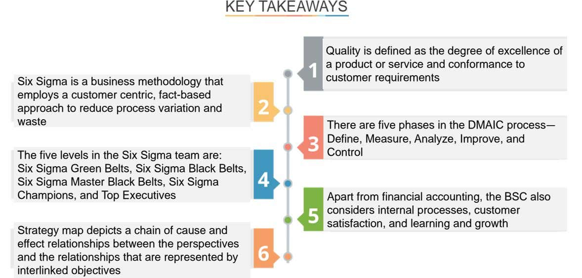 KEY TAKEAWAYS Quality is defined as the degree of excellence of a product or service and