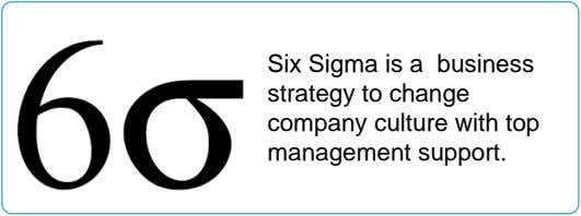 Six Sigma is a business strategy to change company culture with top management support.