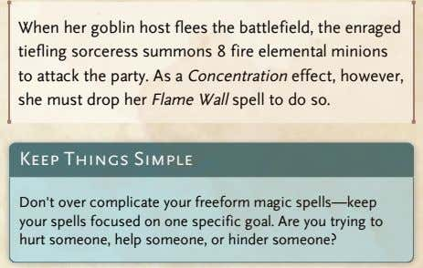 When her goblin host flees the battlefield, the enraged tiefling sorceress summons 8 fire elemental