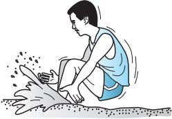 long jumper landed on the sandy ground with his knees bent. Figure 3 Why did he
