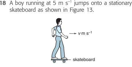 18 A boy running at 5 m s –1 jumps onto a stationary skateboard as