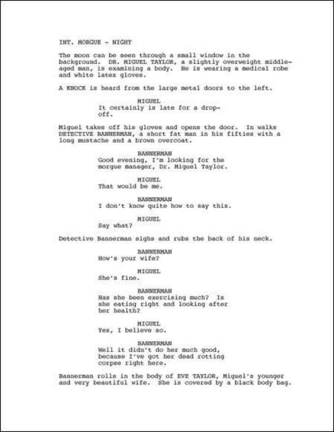 short film Competition – A Short Scriptwriting Guide Sample page (reduced) First Page A screenplay always