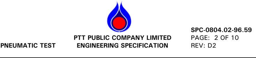 SPC-0804.02-96.59 PNEUMATIC TEST PTT PUBLIC COMPANY LIMITED ENGINEERING SPECIFICATION PAGE: 2 OF 10 REV: D2