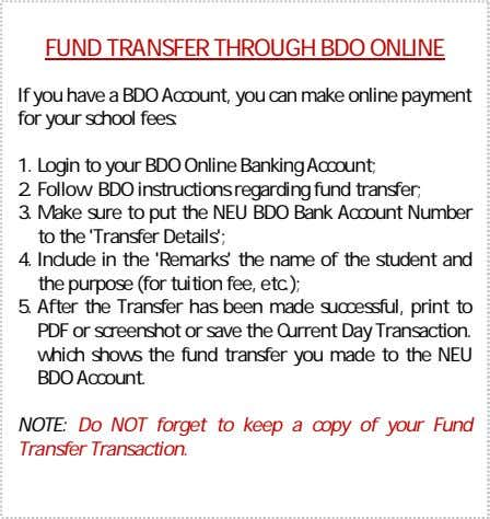 FUND TRANSFER THROUGH BDO ONLINE If you have a BDO Account, you can make online