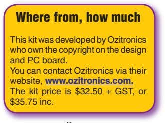 Where from, how much This kit was developed by Ozitronics who own the copyright on