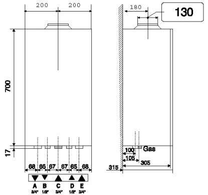 (electrical part has IP 44 cover). 2.3 BOILER DIMENSIONS Legend: A. Heating water outlet B. DHW