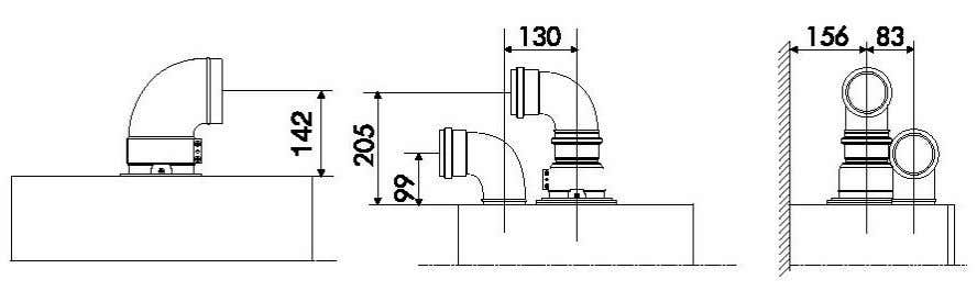 inlet and outlet are at the same side of the building). Recommended exhaust length maximum coaxial