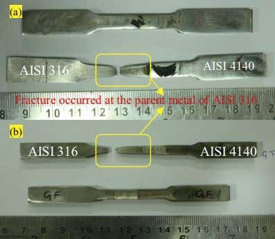 (a) AISI 4140 AISI 316 Fracture occurred at the parent metal of AISI 316 (b)