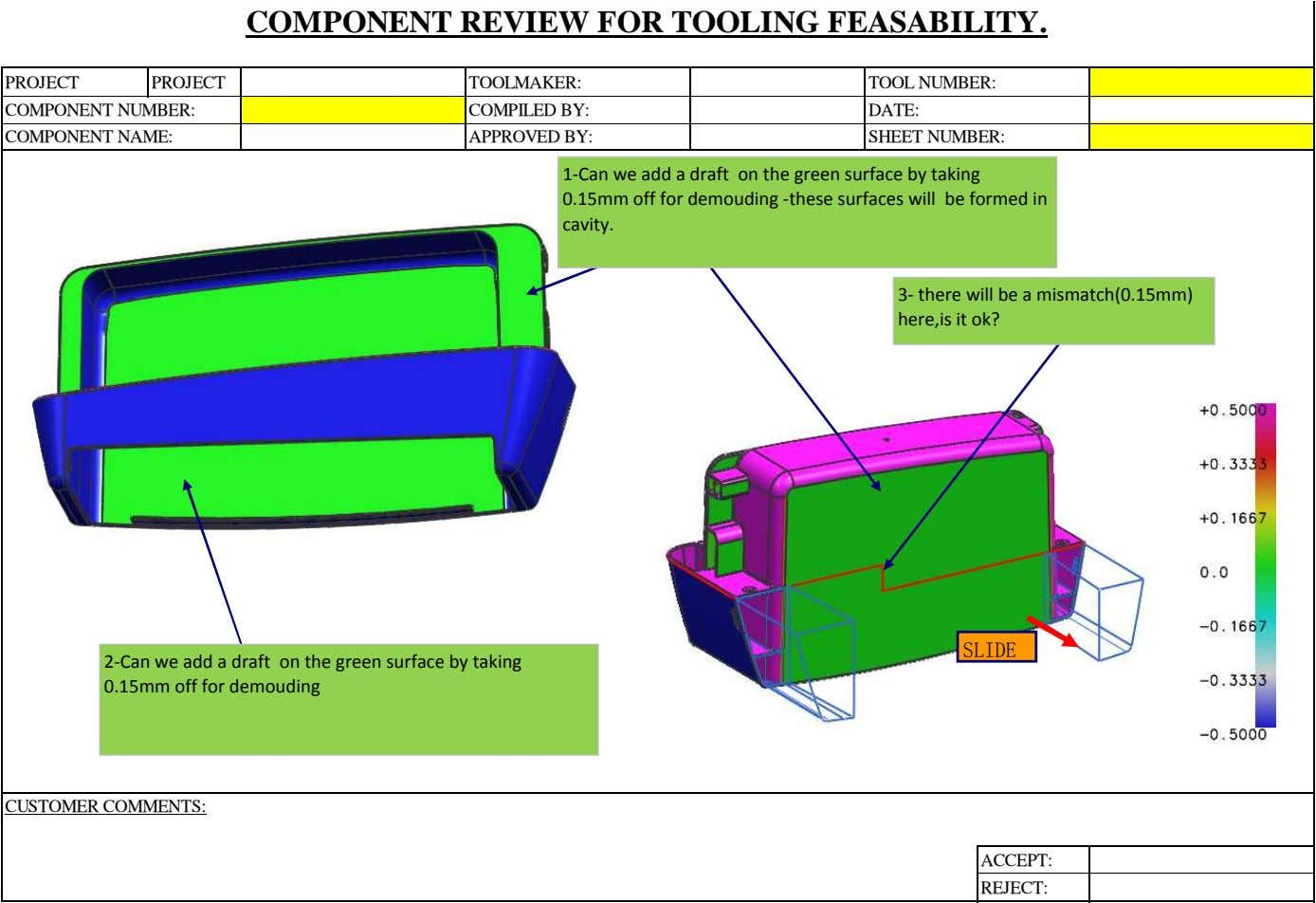 COMPONENT REVIEW FOR TOOLING FEASABILITY. PROJECT PROJECT TOOLMAKER: TOOL NUMBER: COMPONENT NUMBER: COMPILED BY: