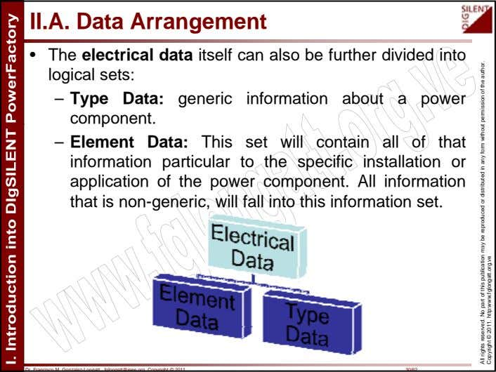 II.A. Data Arrangement • The electrical data itself can also be further divided into logical