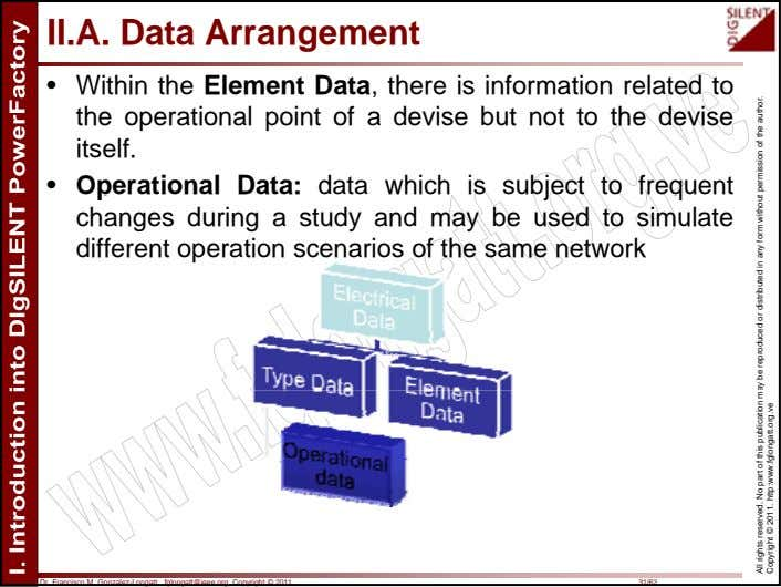 II.A. Data Arrangement • Within the Element Data, there is information related to the operational