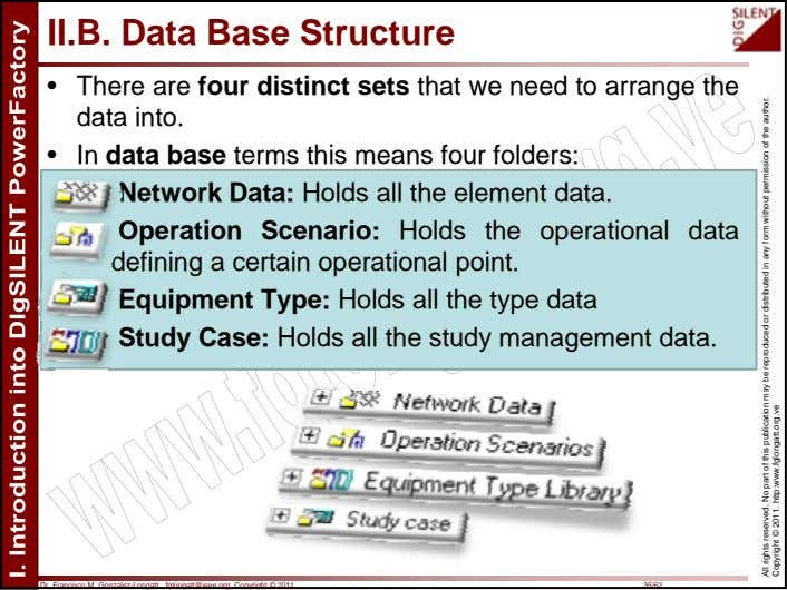 II.B. Data Base Structure • There are four distinct sets that we need to arrange