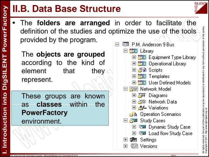 II.B. Data Base Structure • The folders are arranged in order to facilitate the definition